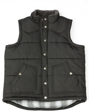 Cody James Boys' Mogul Puffer Snap-Up Vest , Black, hi-res