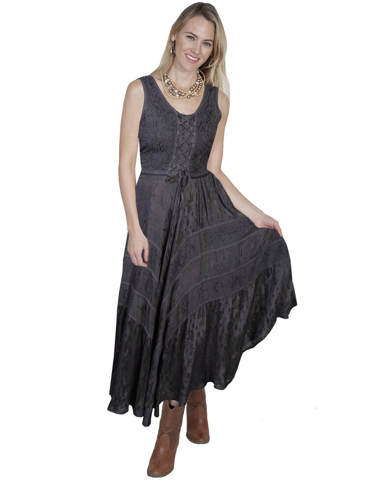 Scully Women's Lace-Up Jacquard Dress, Charcoal, hi-res