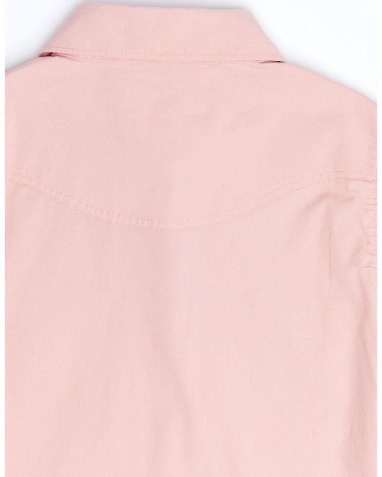 Shyanne Girls' Mauve Solid Rhinestone Yoke Long Sleeve Western Core Shirt , Mauve, hi-res
