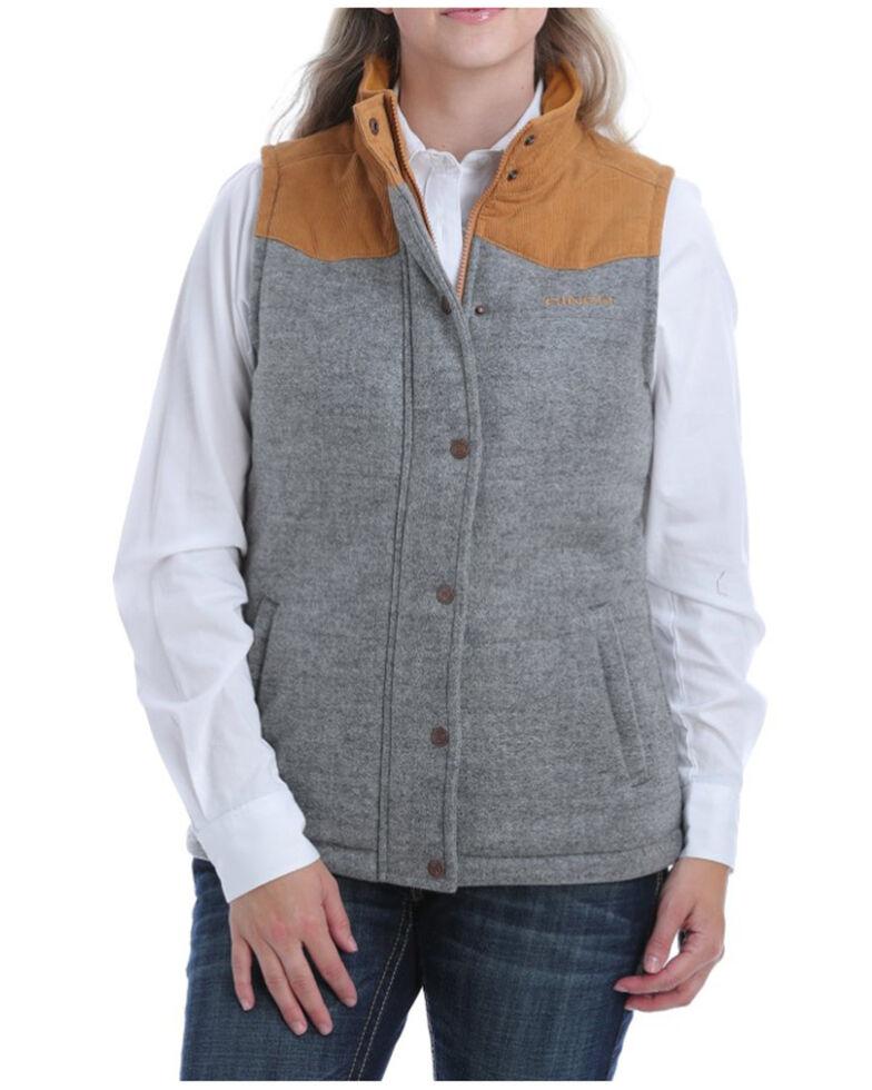 Cinch Women's Grey Quilted Brushed Tweed Vest , Grey, hi-res