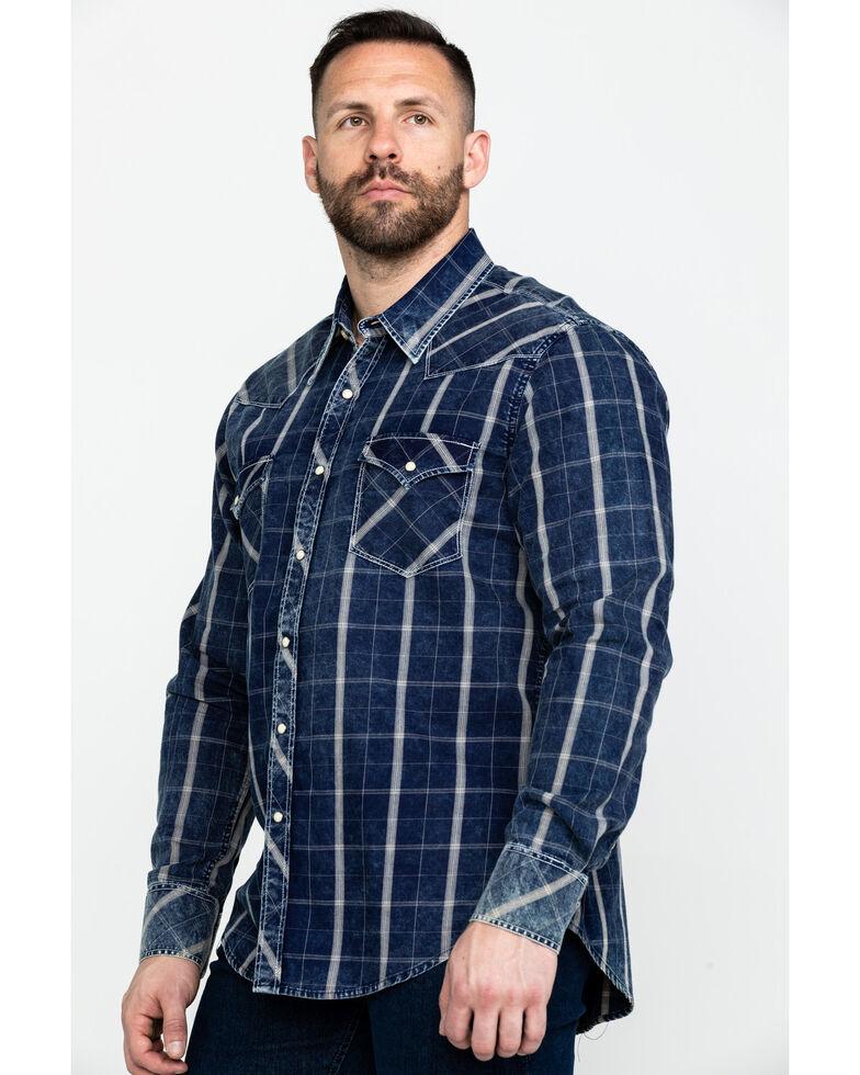Rock & Roll Cowboy Men's Crinkle Plaid Long Sleeve Western Shirt , Blue, hi-res