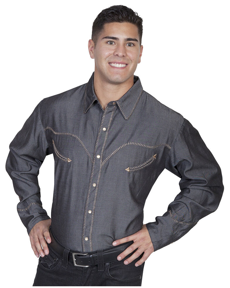 Scully Men's Solid Whipstitch Denim Retro Long Sleeve Western Shirt, Charcoal Grey, hi-res