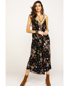 Eyeshadow Women's Black Floral Wide Leg Jumpsuit, Black, hi-res