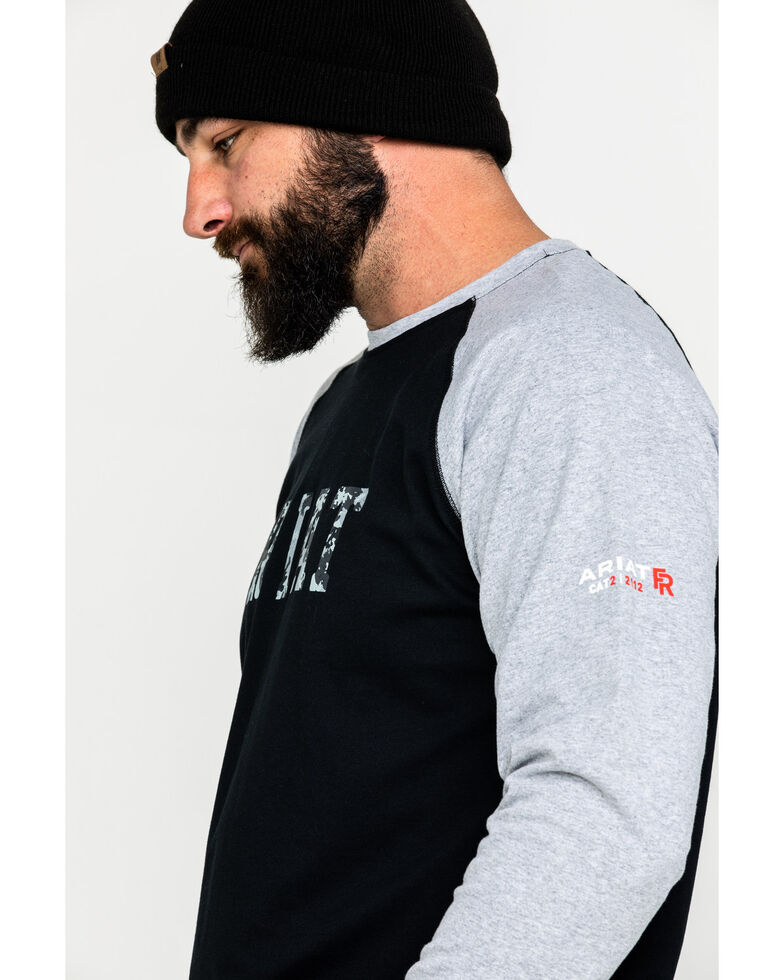 Ariat Men's FR Baseball Logo Crew Work Tee , Grey, hi-res
