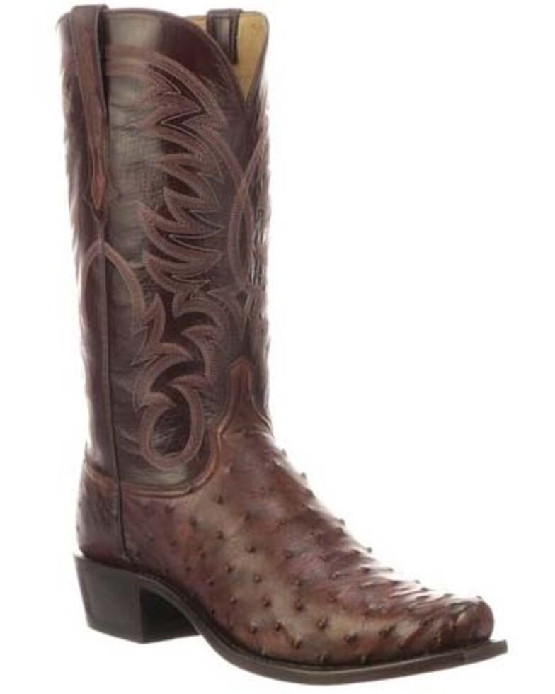 Lucchese Men's Hugo Full Quill Ostrich Western Boots - Square Toe, Mahogany, hi-res