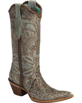 Corral Women's Distressed Floral Embossed Western Boots, Turquoise, hi-res