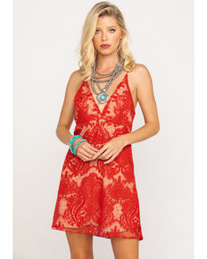 Free People Women's Night Shimmers Dress, Red, hi-res