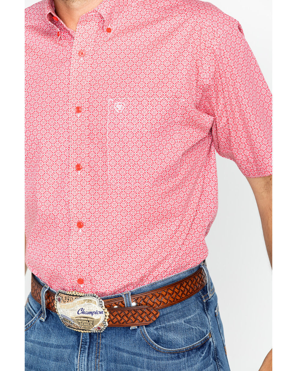 Ariat Men's Red Nyle Print Short Sleeve Shirt , Red, hi-res