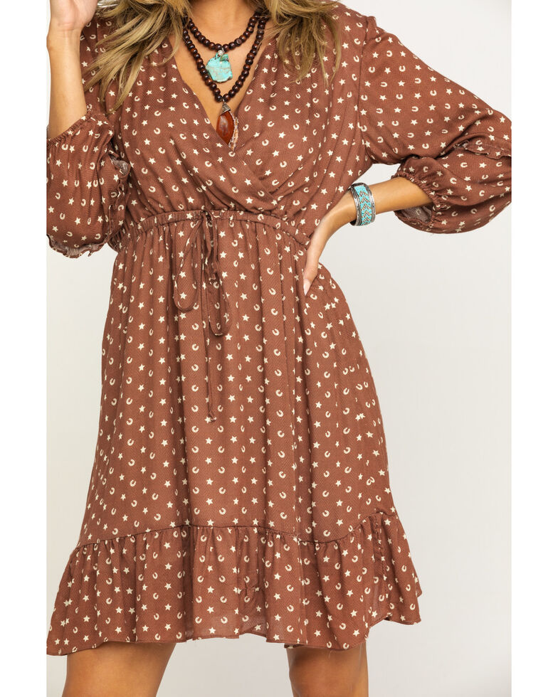 Stetson Women's Brown Lucky Star Print Dress , Brown, hi-res