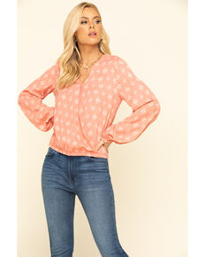 Wrangler Women's Peach Tile Print Surplice Long Sleeve Top, Peach, hi-res