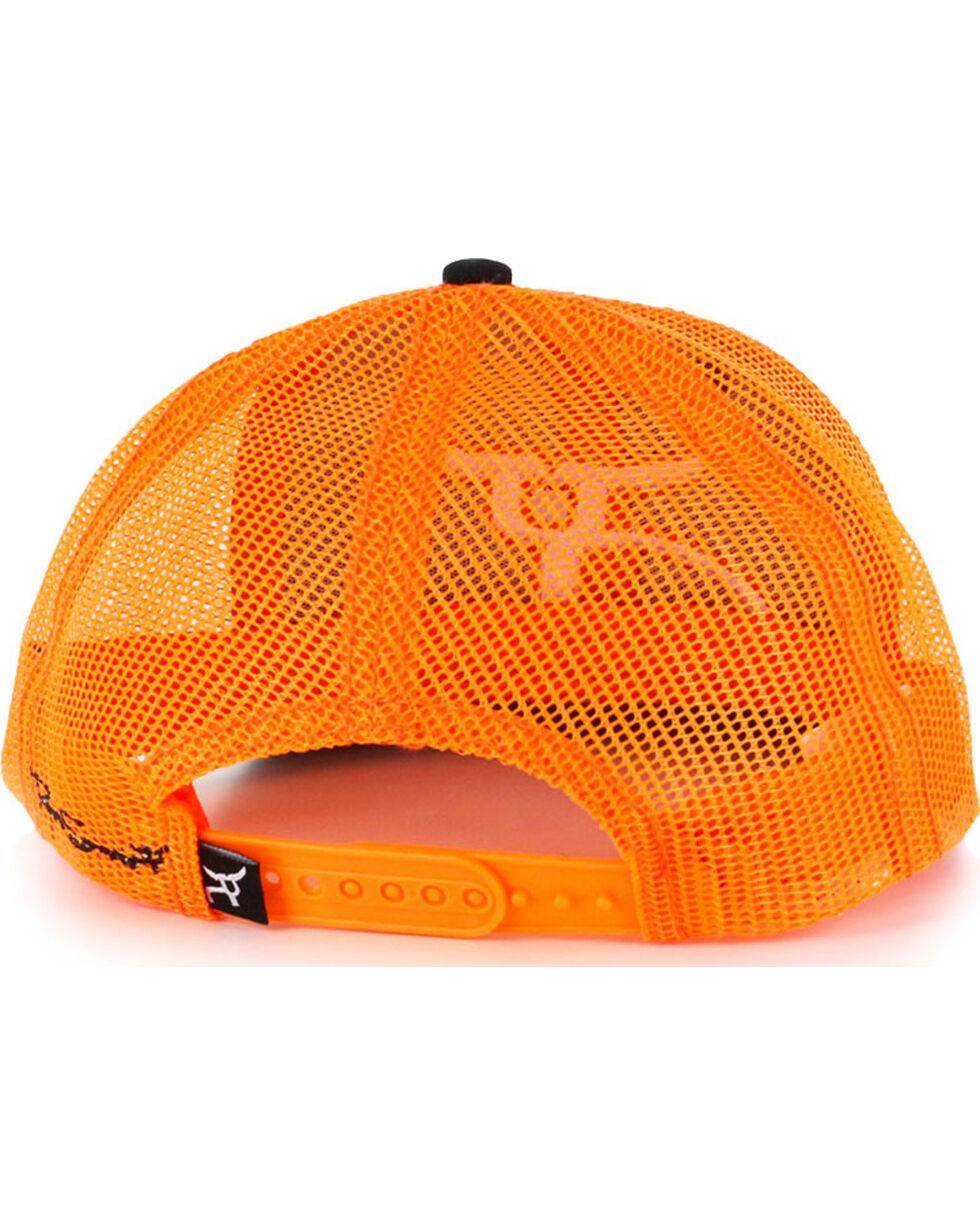 RopeSmart Men's Neon Logo Snap-Back Trucker Hat, Black/orange, hi-res