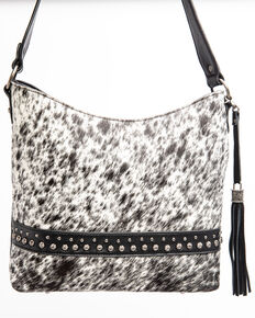 Shyanne Women's Bryndle Hair On Black Shoulder Leather Handbag , Black, hi-res