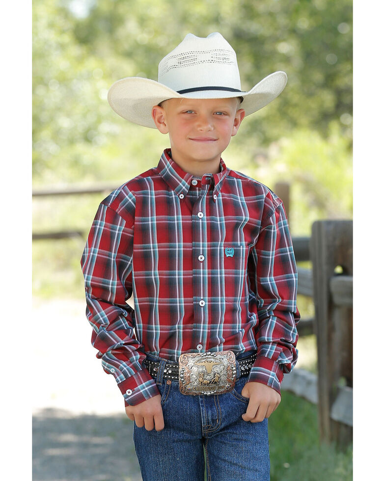 Cinch Boys' Red Plaid Long Sleeve Western Shirt , Red, hi-res