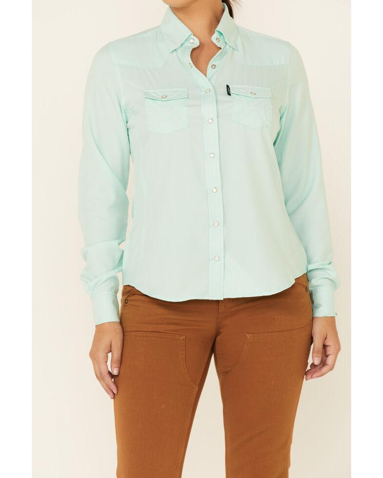 HOOey Women's Solid Aqua Habitat Sol Lightweight Long Sleeve Snap Western Core Shirt , Aqua, hi-res