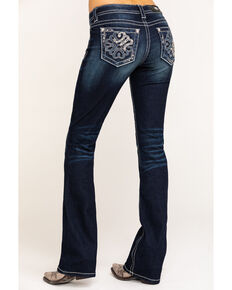 Miss Me Women's Dark Wash Abstract Bootcut Jeans, Blue, hi-res