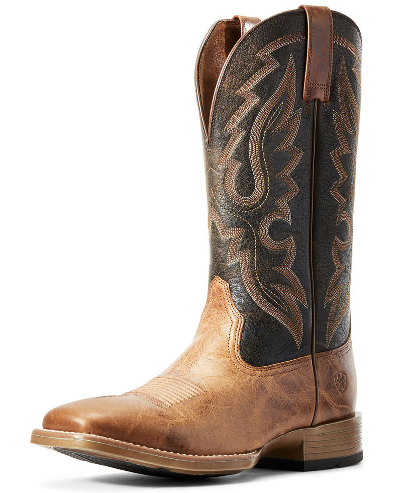 Ariat Men's Barton Ultra Rustic Western Boots - Wide Square Toe, Brown, hi-res