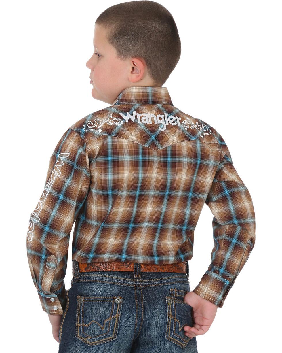 Wrangler Boys' Brown Logo Long Sleeve Western Shirt , Brown, hi-res
