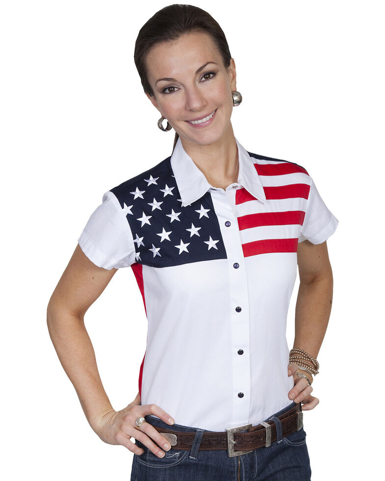 Scully Women's American Flag Print Top, White, hi-res