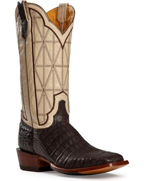 Cinch Men's Caiman Square Toe Exotic Boots, Cigar, hi-res