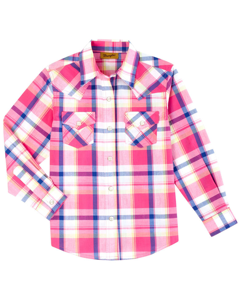 Wrangler Girls' Rose Violet Plaid Long Sleeve Western Shirt , Pink, hi-res