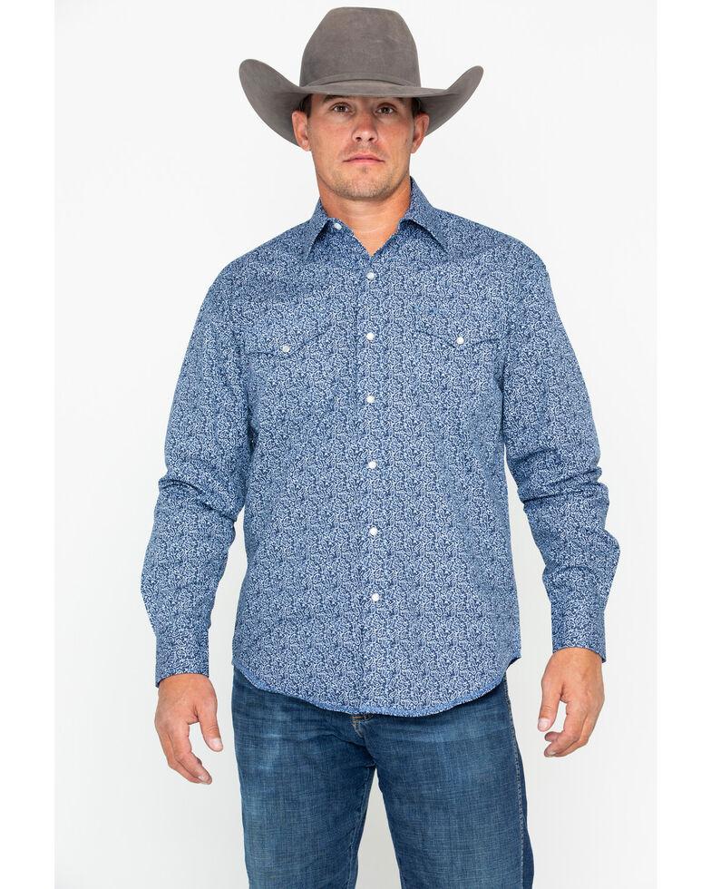 Stetson Men's Paisley Print Long Sleeve Western Shirt , Blue, hi-res