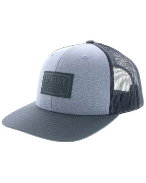 HOOey Men's Grey Doc Woven Square Patch Trucker Cap, Grey, hi-res