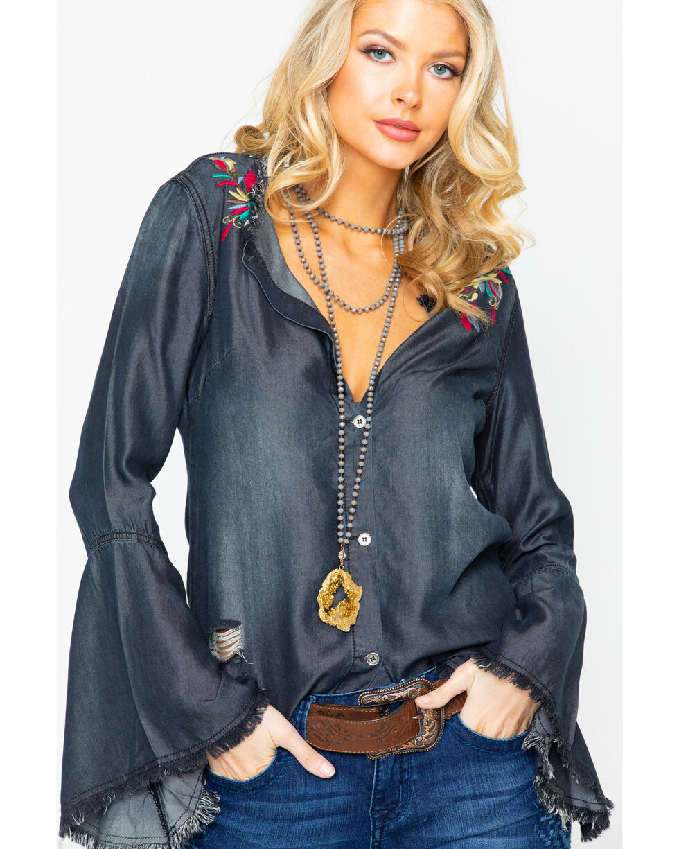 Angel Premium Women's Imelda Embroidered Button Bell Sleeve Top  , Heather Grey, hi-res
