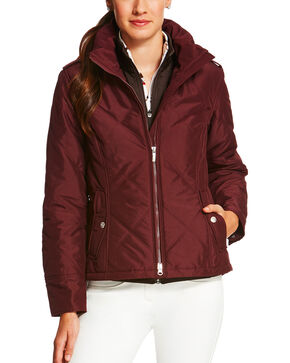 Ariat Women's Diamond Quilted Terrace Jacket, Burgundy, hi-res