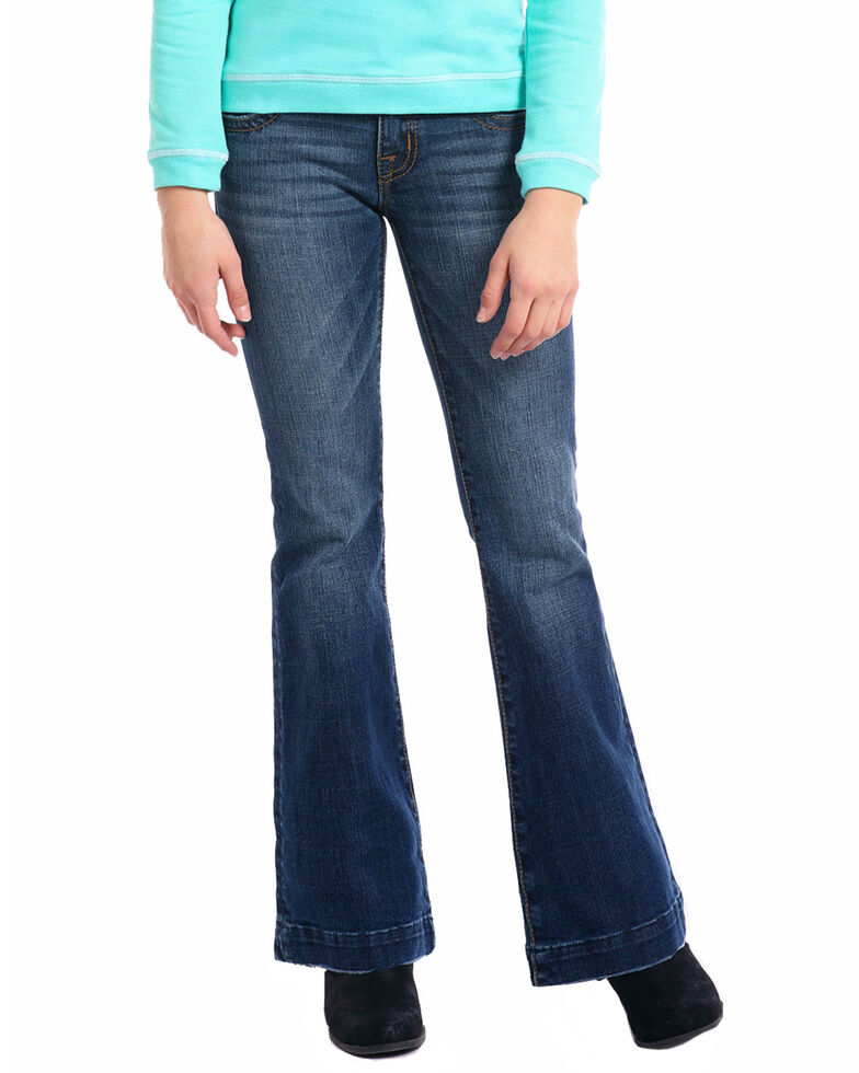 Rock & Roll Cowgirl Girl's Embroidered Trouser Jeans, Indigo, hi-res