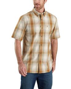 Carhartt Men's Brown Essential Plaid Button Down Short Sleeve Work Shirt - Big , Brown, hi-res