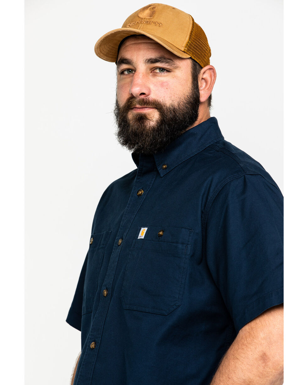 Carhartt Men's Navy Rugged Flex Rigby Short Sleeve Work Shirt , Navy, hi-res
