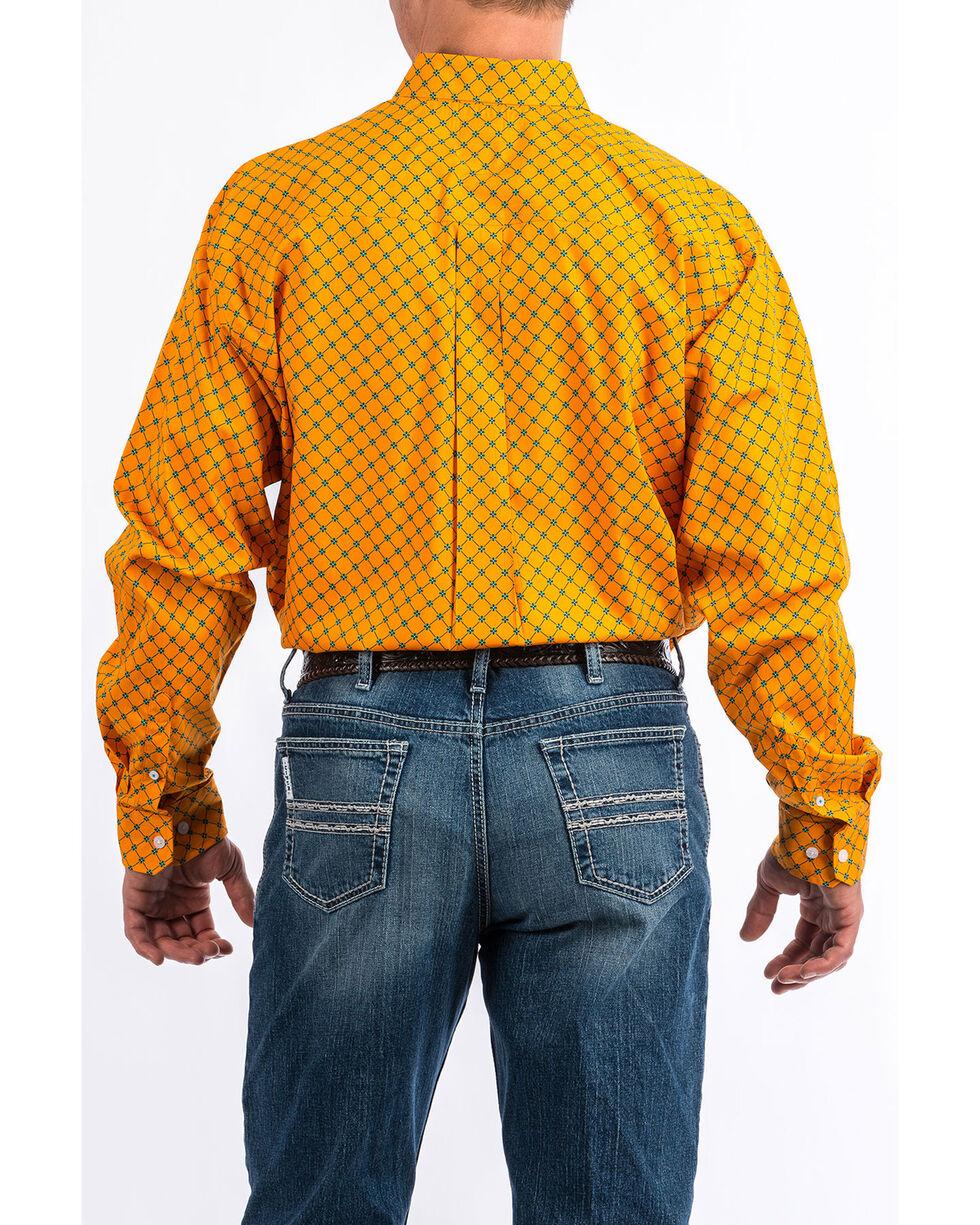 Cinch Men's Orange Geo Print Tencel Long Sleeve Western Shirt , Orange, hi-res