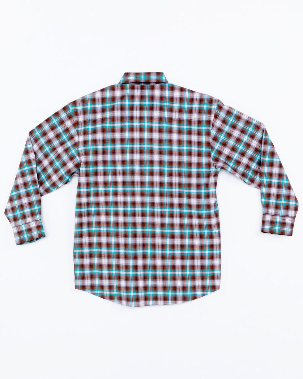 Panhandle Boys' Plaid Lambie Antique Snap Long Sleeve Shirt , Brown, hi-res