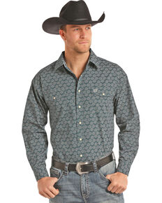 Panhandle Men's Teal Peached Poplin Shirt , Teal, hi-res