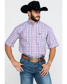 George Strait By Wrangler Men's Magenta Small Plaid Short Sleeve Western Shirt - Big , Dark Pink, hi-res