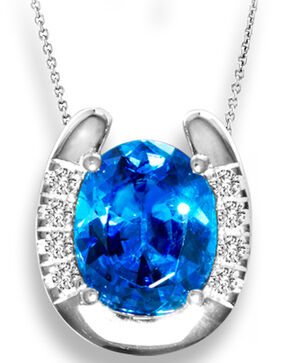 Kelly Herd Women's Blue Solitaire Horseshoe Pendant Necklace , Blue, hi-res