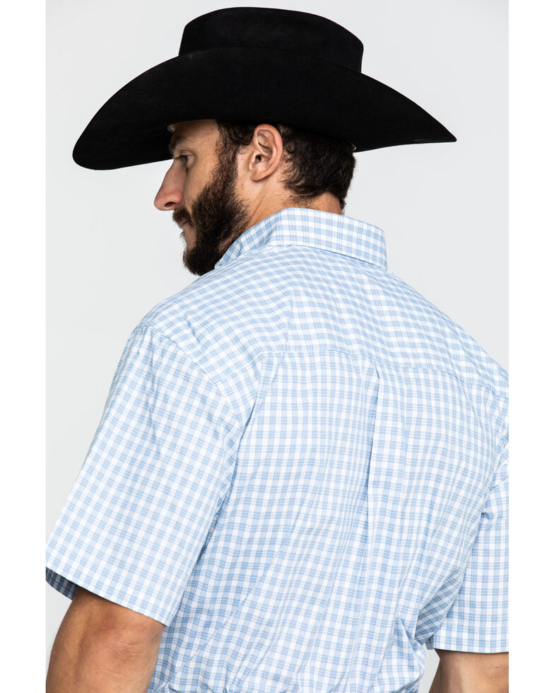 George Strait by Wrangler Men's Blue Small Plaid Short Sleeve Western Shirt - Tall , Blue, hi-res
