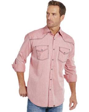 Cowboy Up Men's Red Plaid Snap Shirt, Red, hi-res