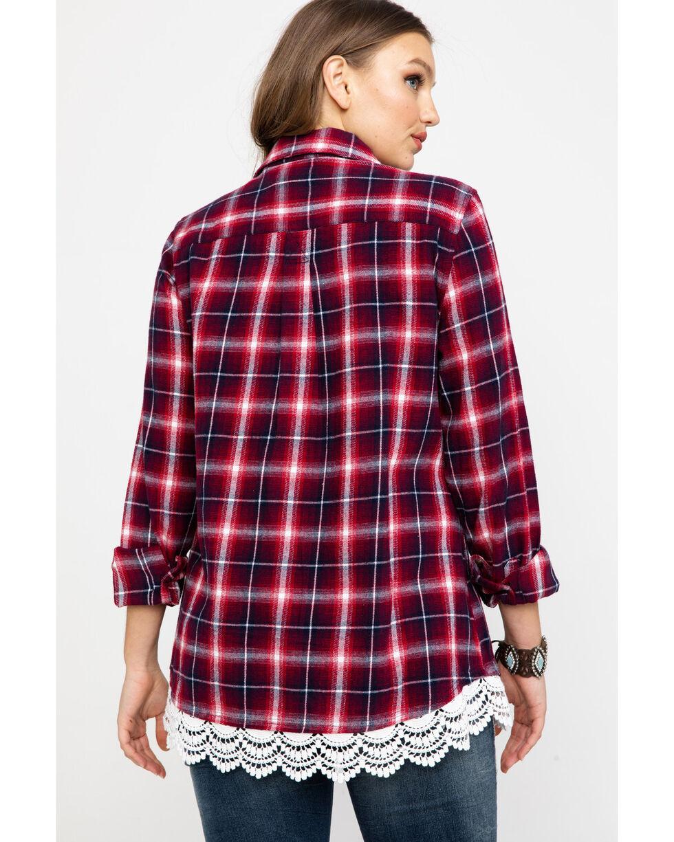 Shyanne Women's Family Plaid Flannel Lace Hem Shirt , Red, hi-res
