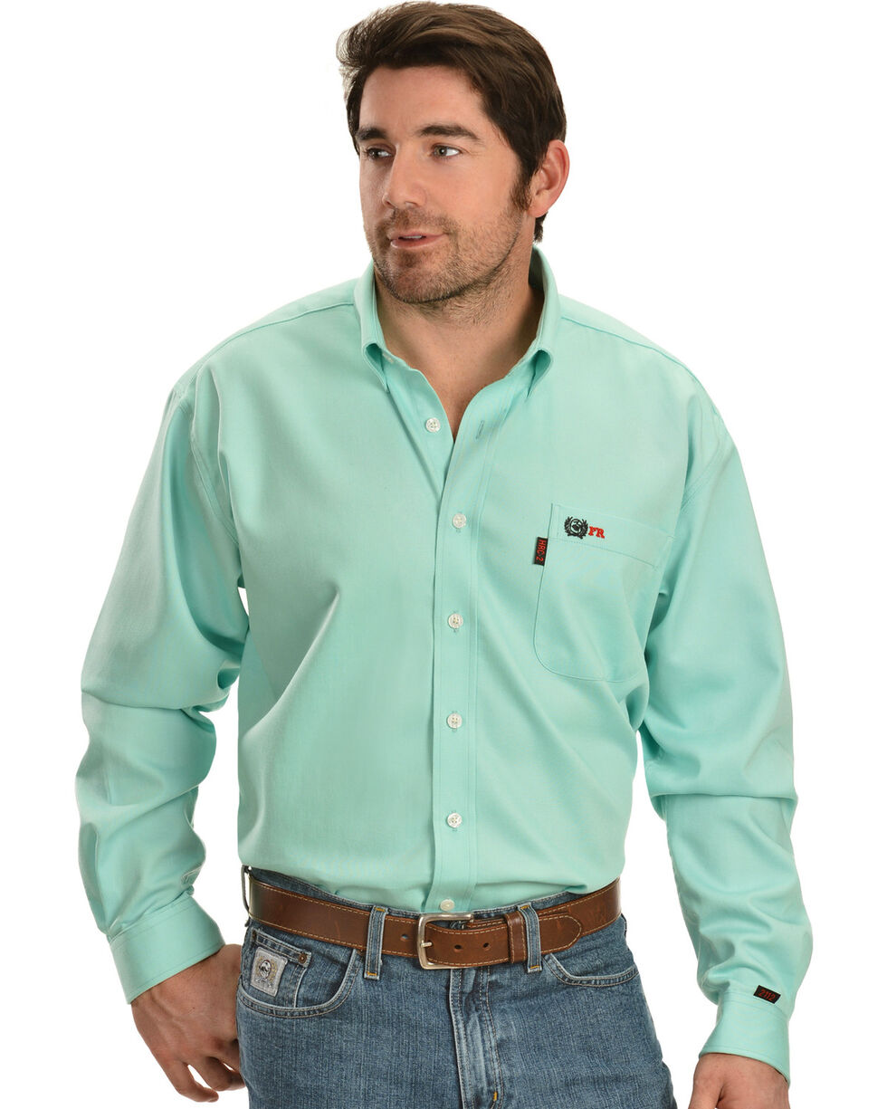 Cinch Light Green Flame Resistant Work Shirt, Green, hi-res