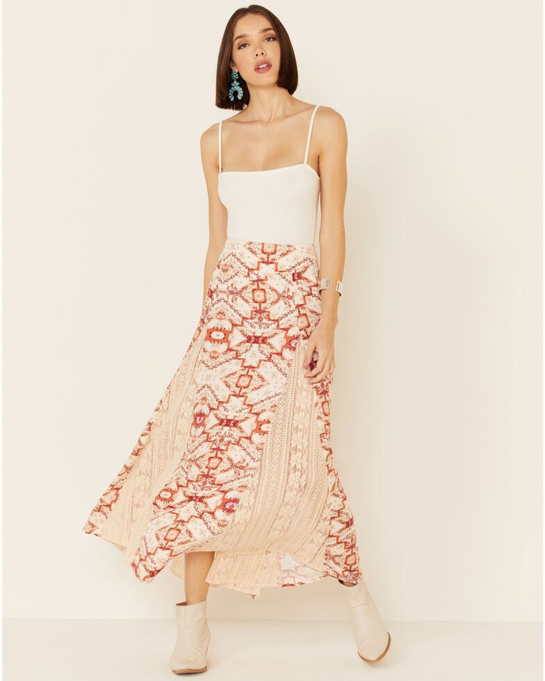 Shyanne Women's Tile Print Maxi Skirt, Blush, hi-res