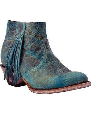 Ferrini Women's Turquoise Fringe Short Western Boots - Round Toe, Turquoise, hi-res
