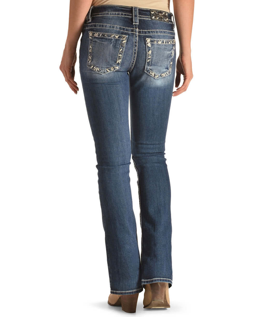 Miss Me Women's Blue Embroidered Border Jeans - Boot Cut , Blue, hi-res