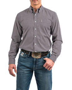 Cinch Men's Purple Modern Geo Print Long Sleeve Western Shirt , Purple, hi-res