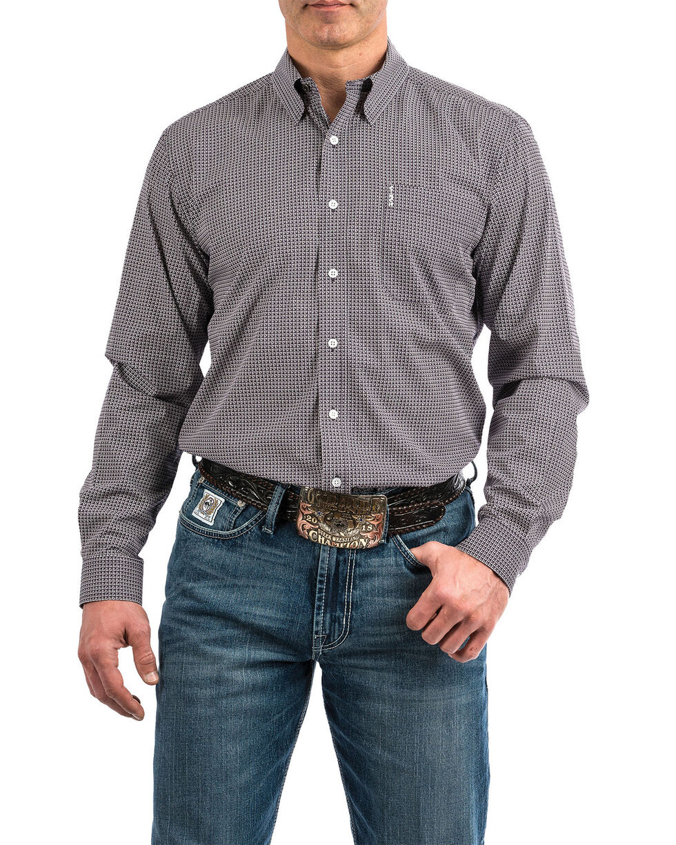Cinch Men's Purple Modern Geo Print Long Sleeve Western Shirt , Purple, hi-res