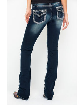Grace In LA Easy Fit Embroidered Boot Jeans , Blue, hi-res