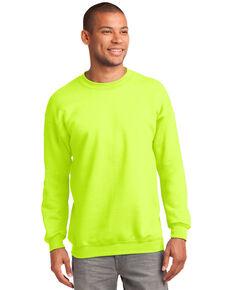 Port & Company Men's Safety Green 2X Essential Fleece Crew Work Sweatshirt - Tall , Green, hi-res