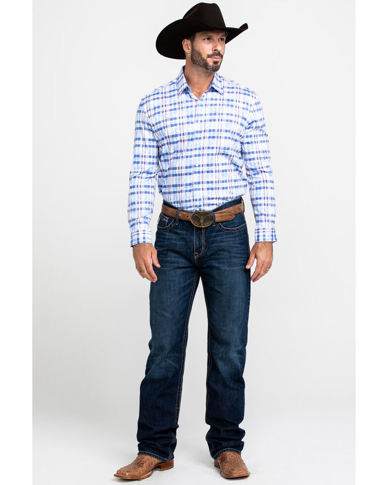 Scully Signature Soft Series Men's Multi Med Plaid Long Sleeve Western Shirt, Blue, hi-res