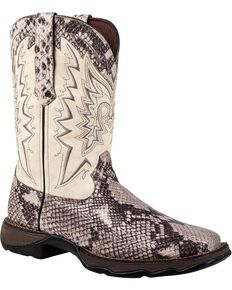 Durango Lady Rebel Snake Print Cowgirl Boots - Square Toe, Grey, hi-res