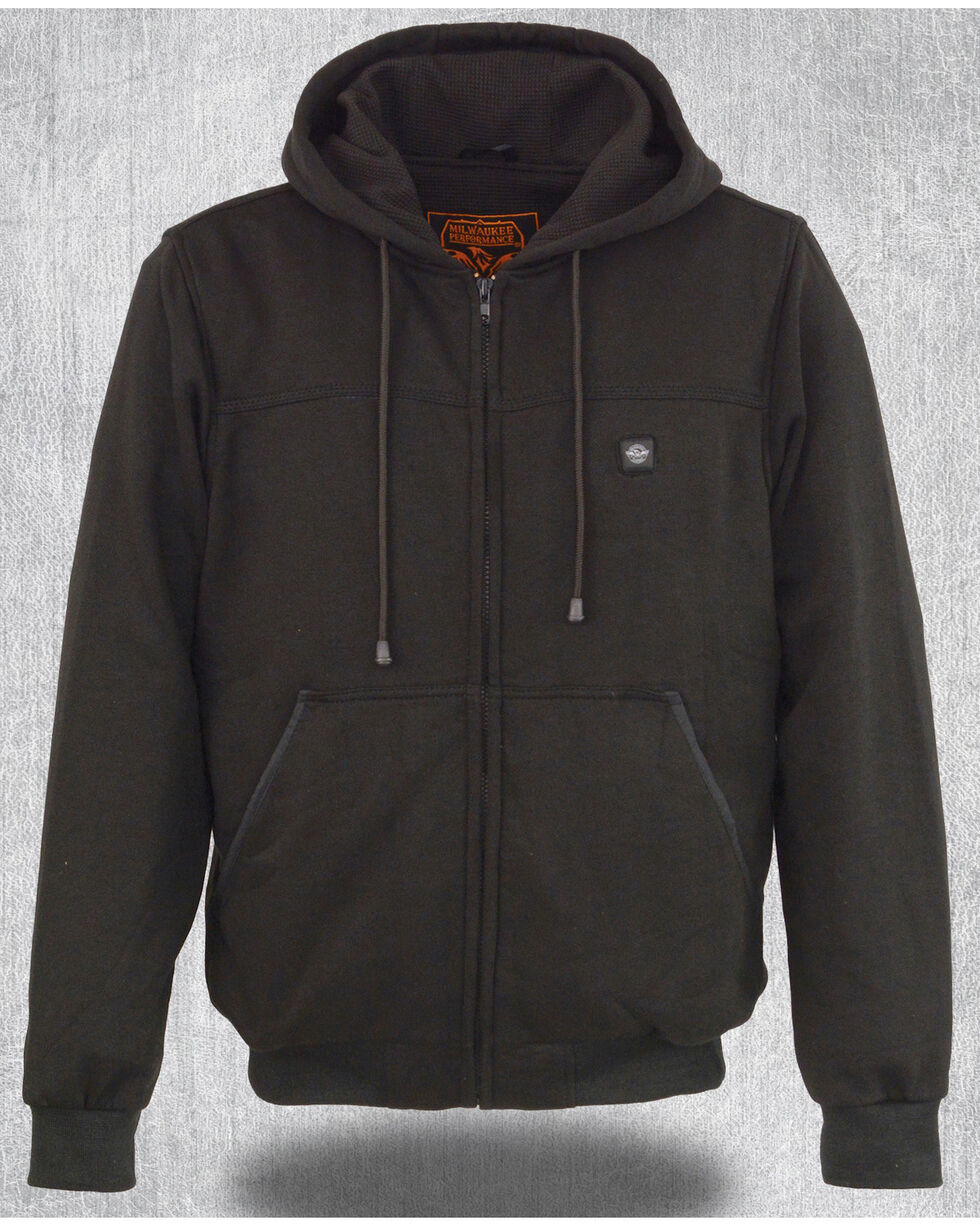Milwaukee Leather Men's Grey Zipper Front Heated Hoodie - Big 4X , Grey, hi-res